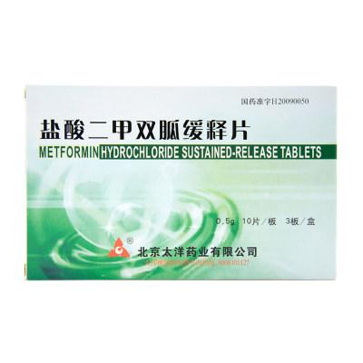 太洋 盐酸二甲双胍缓释片 0.5g*30片/盒
