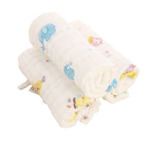 笨笨豆6层水洗纱布口水巾新生婴儿儿童口水巾新生儿纱布方巾3条装30*30小动物