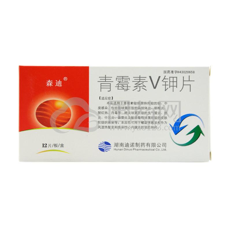 森迪 青霉素V钾片 0.236g*12片*1板/盒