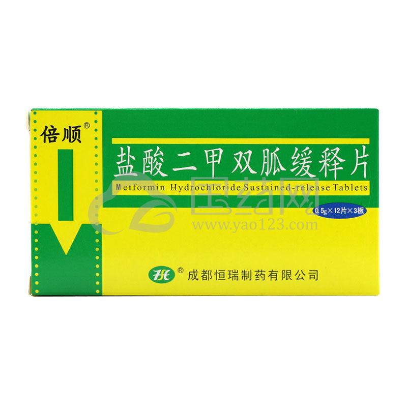 倍顺 盐酸二甲双胍缓释片 0.5g*36片/盒