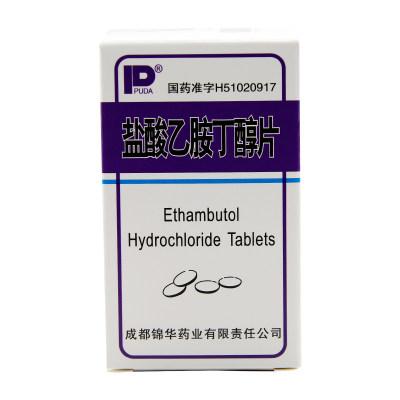 锦华 PUDA 盐酸乙胺丁醇片 0.25g*100片/盒