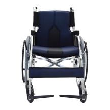 日本进口品牌一期一会手动轮椅车老人轻便折叠铝合金代步手推车蓝色款