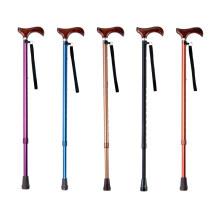 一期一会手杖AS-10  铝合金老人伸缩拐杖 防滑手杖助行器实木手柄
